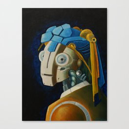 Robot with a Pearl Earring Canvas Print