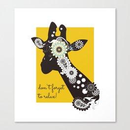 Funky Cool Funny Giraffe Yellow Canvas Print