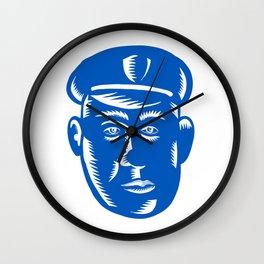 Police Officer Head Woodcut Wall Clock