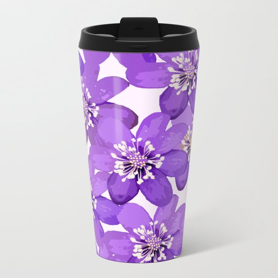 Purple wildflowers on a white background - spring atmosphere Metal Travel Mug