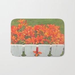 White Picket Fence / Daylilies / Flowers Bath Mat