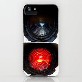 Red Warning Light Of A Railroad Signal Lamp iPhone Case