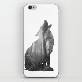 Wolf Silhouette   Forest Photography   Black and White iPhone Skin