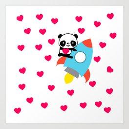 Rocketpanda in Love Art Print