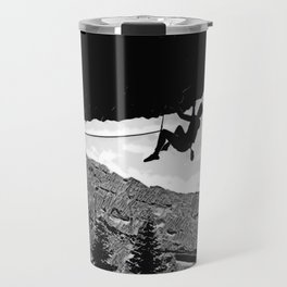 Rock Climber in Steep Cave Black and White Travel Mug