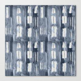 Simply Shibori Lines in Indigo Blue on Lunar Gray Canvas Print