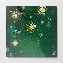 Gold Snowflakes on a Green Background Metal Print
