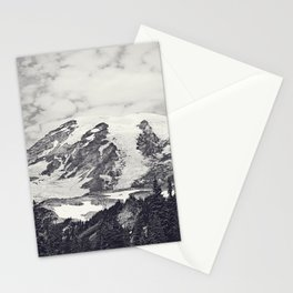 Mount Rainier B&W Stationery Cards