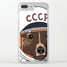 The first dog in space Laika Clear iPhone Case