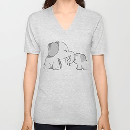 Mama Elephant And Cute Calf Mother's Day Gift Idea Unisex V-Neck