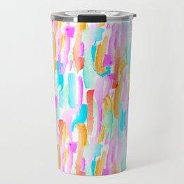 Abstract Brushstrokes - Brights Travel Mug
