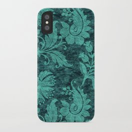 Burgundy Turquoise Velvet Floral Pattern 09 iPhone Case