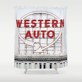 Western Auto Vintage Neon Sign Shower Curtain
