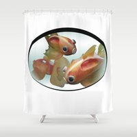 goldfish Shower Curtains featuring Goldfish by Ruud van Koningsbrugge