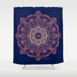 Tribal Hogfish Mandala on Indigo Shower Curtain