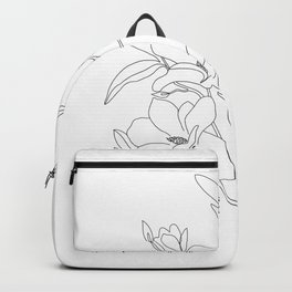 Minimal Line Art Magnolia Flowers Backpack