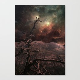 Dead black pine (galaxy Sky) Canvas Print