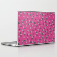 gray pattern Laptop & iPad Skins featuring Pink & Gray pattern by Georgiana Paraschiv