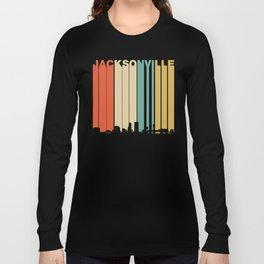 Vintage 1970's Style Jacksonville Florida Skyline Long Sleeve T-shirt