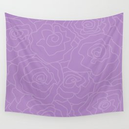 Lavender Dreams Roses - Medium with Light Outline Wall Tapestry