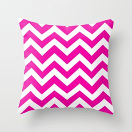 Hollywood cerise - fuchsia color - Zigzag Chevron Pattern Throw Pillow