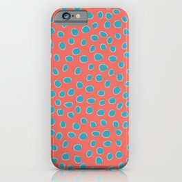 Living Coral and Turquoise, Teal Polka Dots iPhone Case