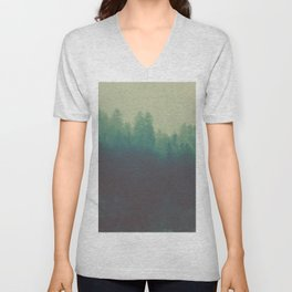 Misty Blue Pine Forest Tall Parallax Trees Silhouette Ombre Forest Foggy Landscape Unisex V-Neck