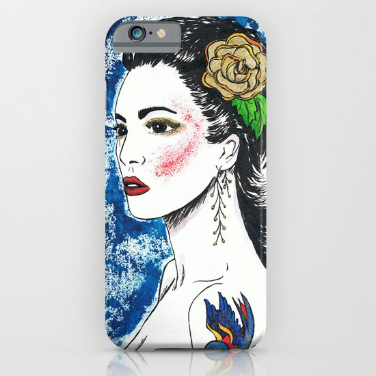 Lady With Swallow Tattoo iPhone & iPod Case