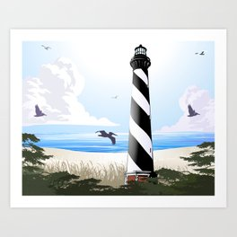 Cape Hatteras Lighthouse Beach Scene Art Print