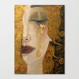 Golden Tears (Freya's Heartache) portrait painting by Gustav Klimt Canvas Print