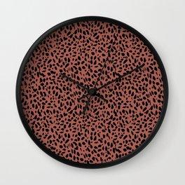 Leopard + Heart in Wild Raspberry Wall Clock