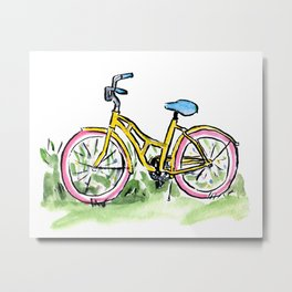 Pastel Primary Bicycle Metal Print
