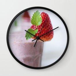 Strawberry mint milkshake Wall Clock