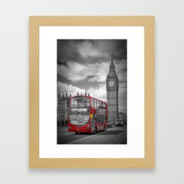 LONDON Houses of Parliament & Red Bus Framed Art Print