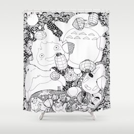 Ghibli-Inspired Collage Shower Curtain
