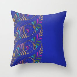 Caravan Ornamental Pattern:  Stylized feather or paisley in hot colors on indigo blue Throw Pillow