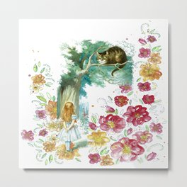 Floral Alice In Wonderland Metal Print