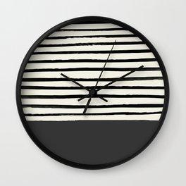 Charcoal Gray x Stripes Wall Clock