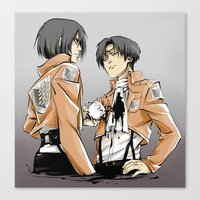 mikasa Canvas Prints featuring wooops p.s. messy by kanda3egle