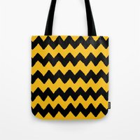 charlie brown Tote Bags featuring CHARLIE CHEVRON by John Medbury (LAZY J Studios)