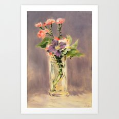 Pinks and clematis in a crystal vase Art Print