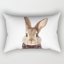 Baby Rabbit, Brown Bunny With Bow Tie, Baby Animals Art Print By Synplus Rectangular Pillow