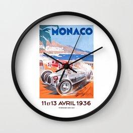 1936 Monaco Grand Prix Race Poster  Wall Clock