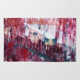 Sunset in the Valley: a colorful abstract piece in reds, pink, gold, gray, and white Rug