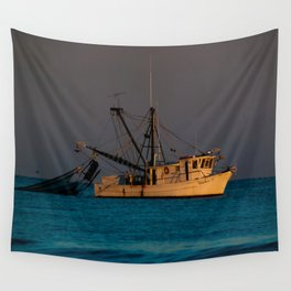 Tucker J fishing boat Wall Tapestry