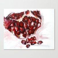 pomegranate Canvas Prints featuring Pomegranate by James Peart