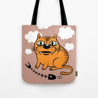 my mad fat diary Tote Bags featuring FAT CAT by Alberto Corradi