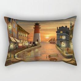 Nostalgic Harbor In The Sunset Rectangular Pillow