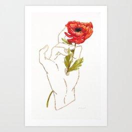 Poppy - Gold (Gilded Hands Series) Art Print