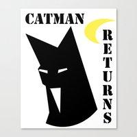 returns Canvas Prints featuring Catman Returns by lindseybaker